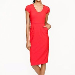 J.CREW V-Neck Cap-Sleeve Wool Red Dress Size 2